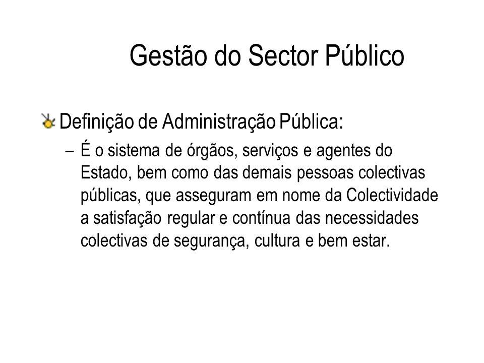 Gestão do Sector Público Definição de Administração Pública: –É o sistema de órgãos, serviços e agentes do Estado, bem como das demais pessoas colecti