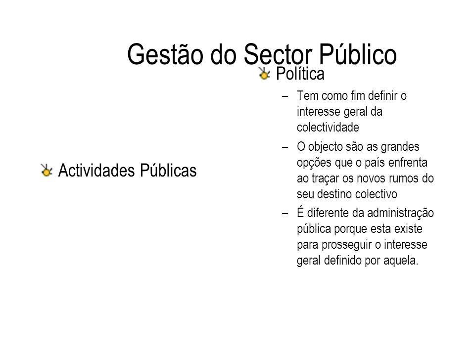 Gestão do Sector Público Actividades Públicas Política –Tem como fim definir o interesse geral da colectividade –O objecto são as grandes opções que o
