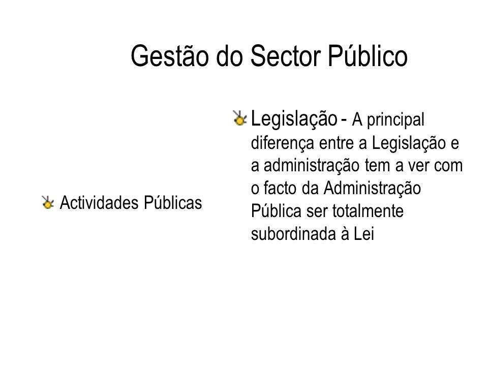 Gestão do Sector Público Actividades Públicas Legislação - A principal diferença entre a Legislação e a administração tem a ver com o facto da Adminis