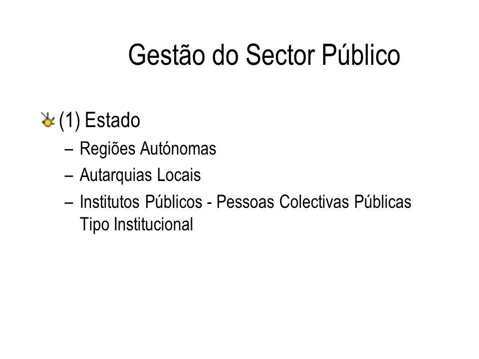 Gestão do Sector Público (1) Estado –Regiões Autónomas –Autarquias Locais –Institutos Públicos - Pessoas Colectivas Públicas Tipo Institucional
