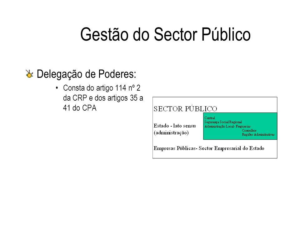 Gestão do Sector Público Delegação de Poderes: Consta do artigo 114 nº 2 da CRP e dos artigos 35 a 41 do CPA