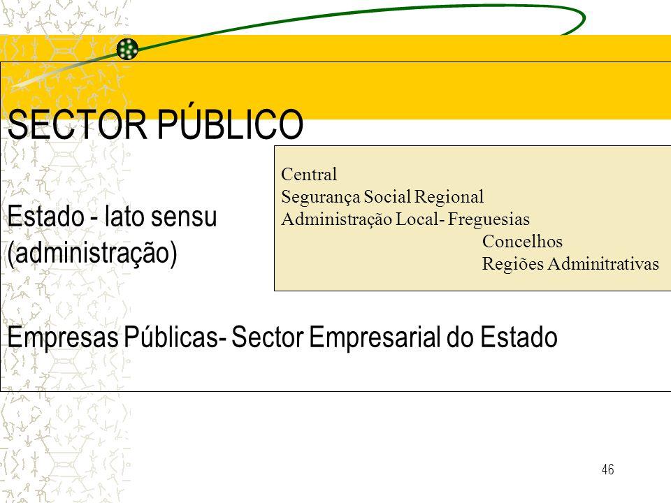 46 SECTOR PÚBLICO Estado - lato sensu (administração) Empresas Públicas- Sector Empresarial do Estado Central Segurança Social Regional Administração