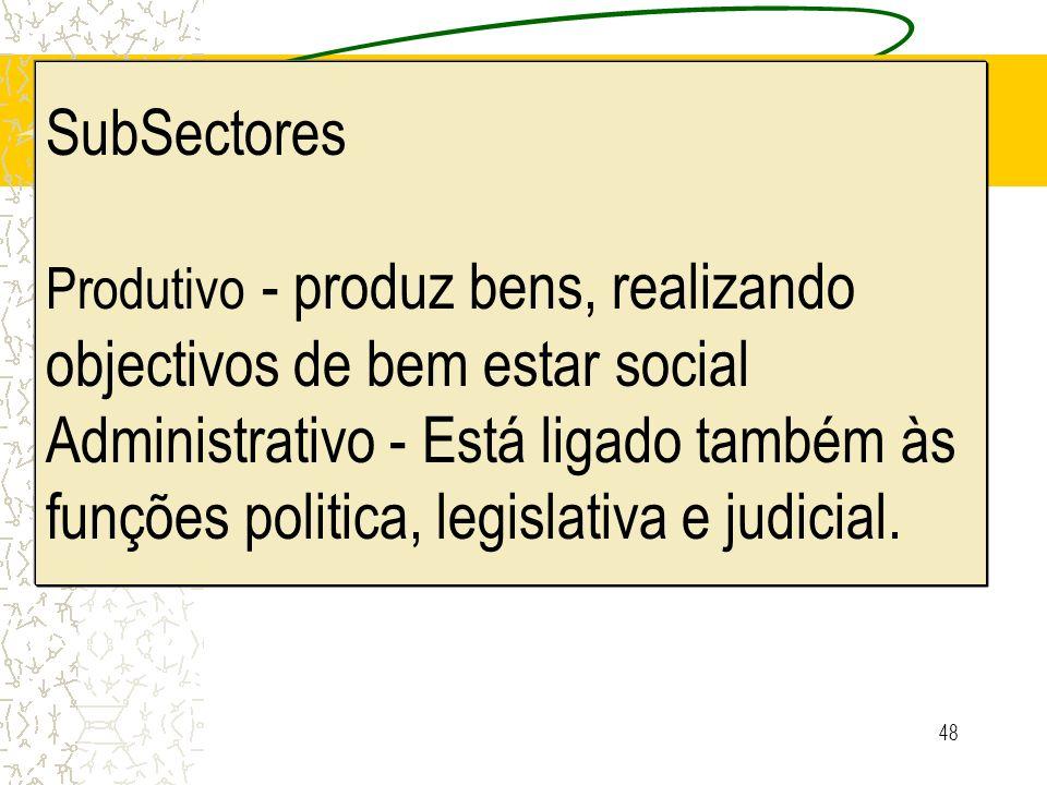 48 SubSectores Produtivo - produz bens, realizando objectivos de bem estar social Administrativo - Está ligado também às funções politica, legislativa