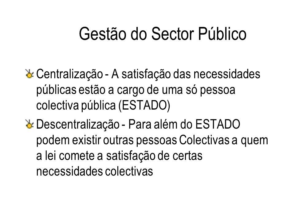 Gestão do Sector Público Centralização - A satisfação das necessidades públicas estão a cargo de uma só pessoa colectiva pública (ESTADO) Descentraliz