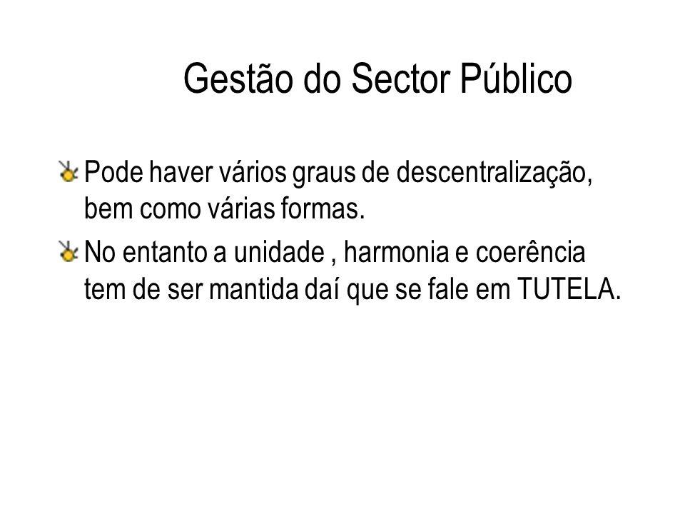 Gestão do Sector Público Pode haver vários graus de descentralização, bem como várias formas. No entanto a unidade, harmonia e coerência tem de ser ma