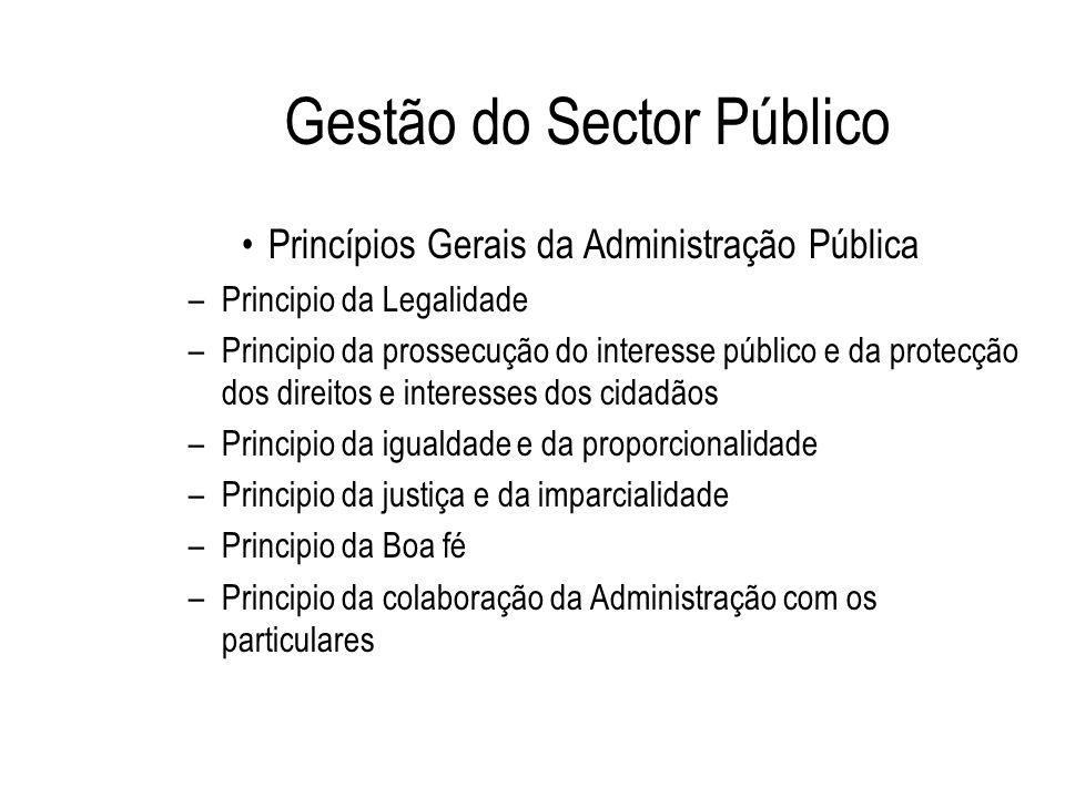 Gestão do Sector Público Princípios Gerais da Administração Pública –Principio da Legalidade –Principio da prossecução do interesse público e da prote