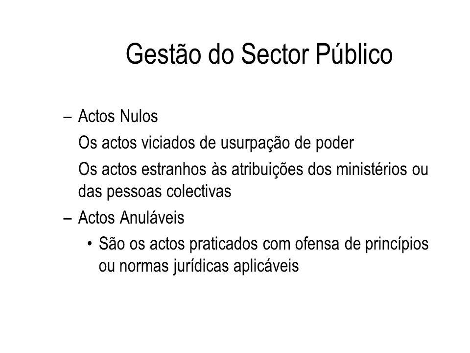 Gestão do Sector Público –Actos Nulos Os actos viciados de usurpação de poder Os actos estranhos às atribuições dos ministérios ou das pessoas colecti