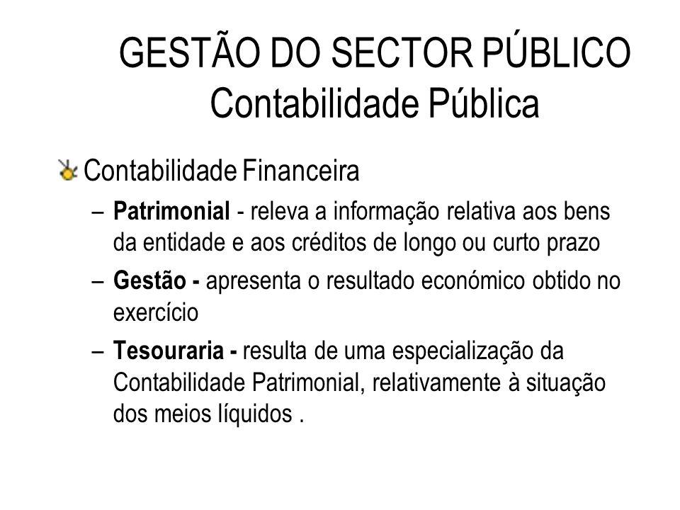 Contabilidade Financeira – Patrimonial - releva a informação relativa aos bens da entidade e aos créditos de longo ou curto prazo – Gestão - apresenta