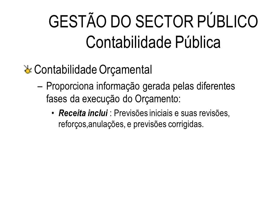 GESTÃO DO SECTOR PÚBLICO Contabilidade Pública Contabilidade Orçamental –Proporciona informação gerada pelas diferentes fases da execução do Orçamento