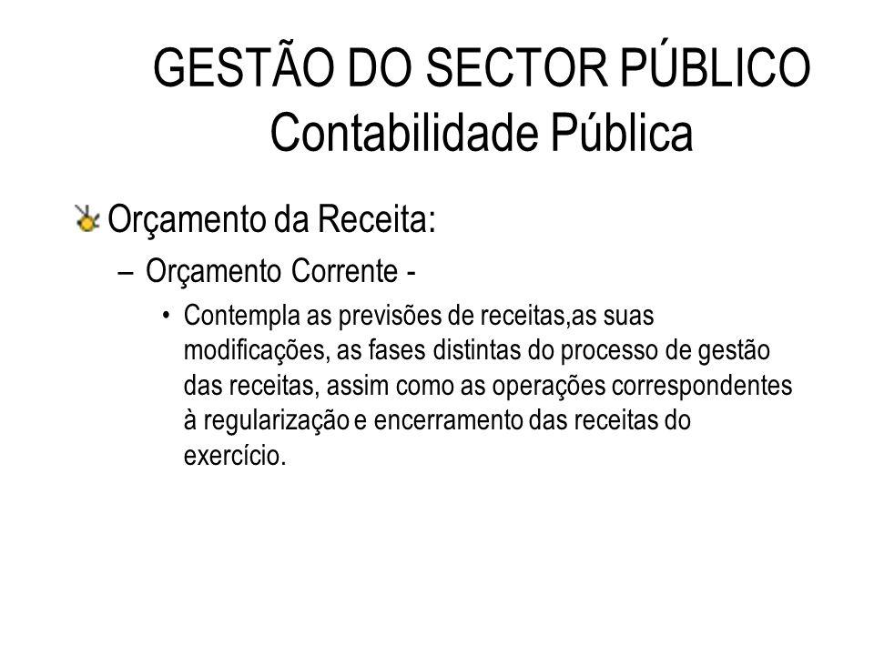 GESTÃO DO SECTOR PÚBLICO Contabilidade Pública Orçamento da Receita: –Orçamento Corrente - Contempla as previsões de receitas,as suas modificações, as