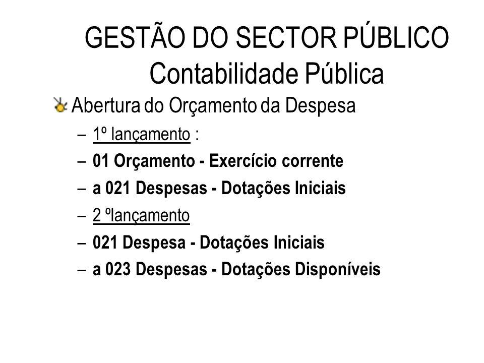 GESTÃO DO SECTOR PÚBLICO Contabilidade Pública Abertura do Orçamento da Despesa –1º lançamento : – 01 Orçamento - Exercício corrente – a 021 Despesas