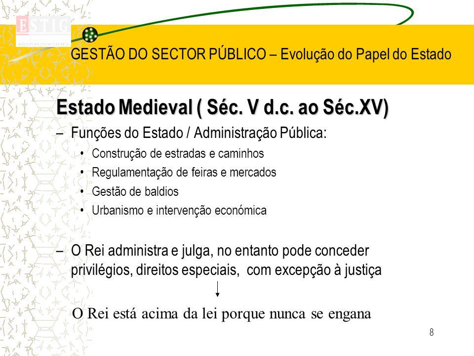 8 GESTÃO DO SECTOR PÚBLICO – Evolução do Papel do Estado Estado Medieval ( Séc. V d.c. ao Séc.XV) –Funções do Estado / Administração Pública: Construç