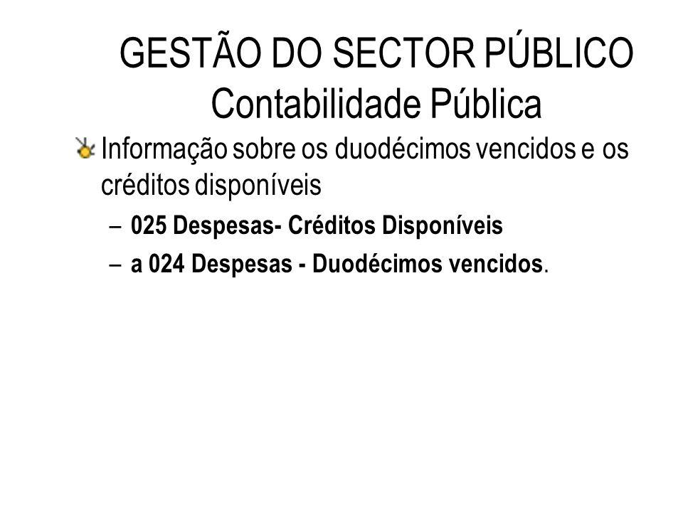 GESTÃO DO SECTOR PÚBLICO Contabilidade Pública Informação sobre os duodécimos vencidos e os créditos disponíveis – 025 Despesas- Créditos Disponíveis