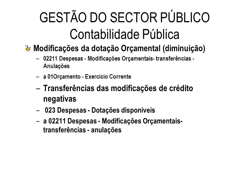 GESTÃO DO SECTOR PÚBLICO Contabilidade Pública Modificações da dotação Orçamental (diminuição) – 02211 Despesas - Modificações Orçamentais- transferên