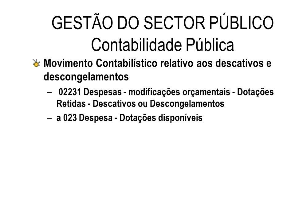 GESTÃO DO SECTOR PÚBLICO Contabilidade Pública Movimento Contabilístico relativo aos descativos e descongelamentos – 02231 Despesas - modificações orç