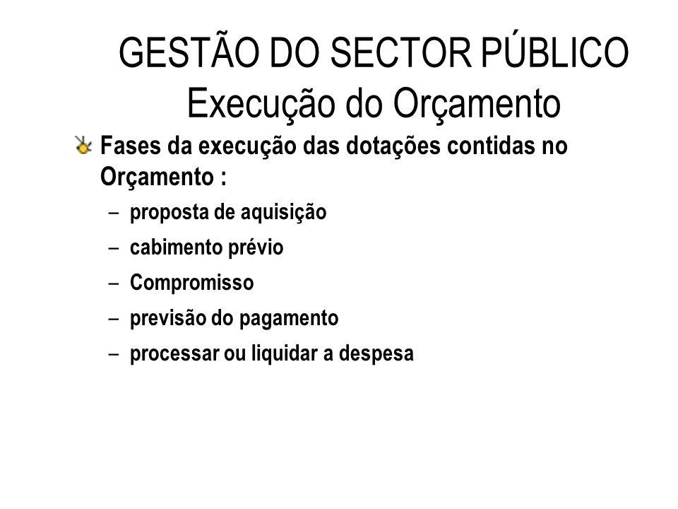 GESTÃO DO SECTOR PÚBLICO Execução do Orçamento Fases da execução das dotações contidas no Orçamento : – proposta de aquisição – cabimento prévio – Com