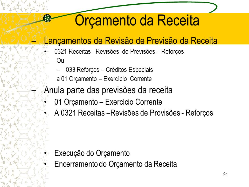 91 Orçamento da Receita –Lançamentos de Revisão de Previsão da Receita 0321 Receitas - Revisões de Previsões – Reforços Ou –033 Reforços – Créditos Es