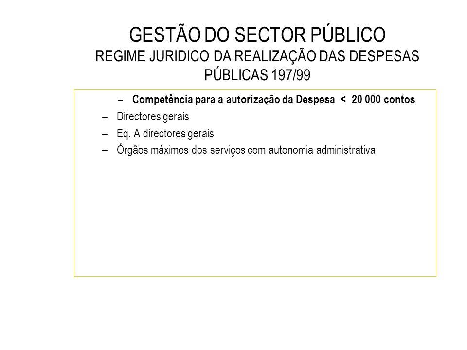 GESTÃO DO SECTOR PÚBLICO REGIME JURIDICO DA REALIZAÇÃO DAS DESPESAS PÚBLICAS 197/99 – Competência para a autorização da Despesa < 20 000 contos –Direc