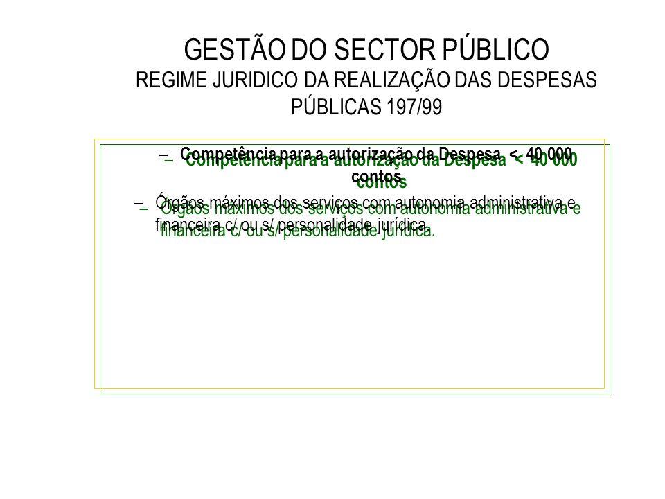 GESTÃO DO SECTOR PÚBLICO REGIME JURIDICO DA REALIZAÇÃO DAS DESPESAS PÚBLICAS 197/99 – Competência para a autorização da Despesa < 40 000 contos –Órgão