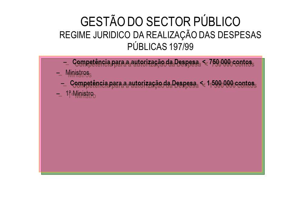 GESTÃO DO SECTOR PÚBLICO REGIME JURIDICO DA REALIZAÇÃO DAS DESPESAS PÚBLICAS 197/99 – Competência para a autorização da Despesa < 750 000 contos –Mini