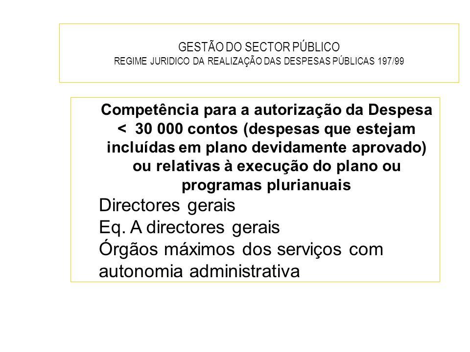GESTÃO DO SECTOR PÚBLICO REGIME JURIDICO DA REALIZAÇÃO DAS DESPESAS PÚBLICAS 197/99 Competência para a autorização da Despesa < 30 000 contos (despesa