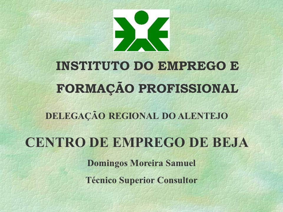 INSTITUTO DO EMPREGO E FORMAÇÃO PROFISSIONAL CENTRO DE EMPREGO DE BEJA DELEGAÇÃO REGIONAL DO ALENTEJO Domingos Moreira Samuel Técnico Superior Consult