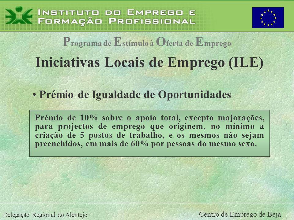 Delegação Regional do Alentejo Centro de Emprego de Beja P rograma de E stímulo à O ferta de E mprego Iniciativas Locais de Emprego (ILE) Prémio de Ig