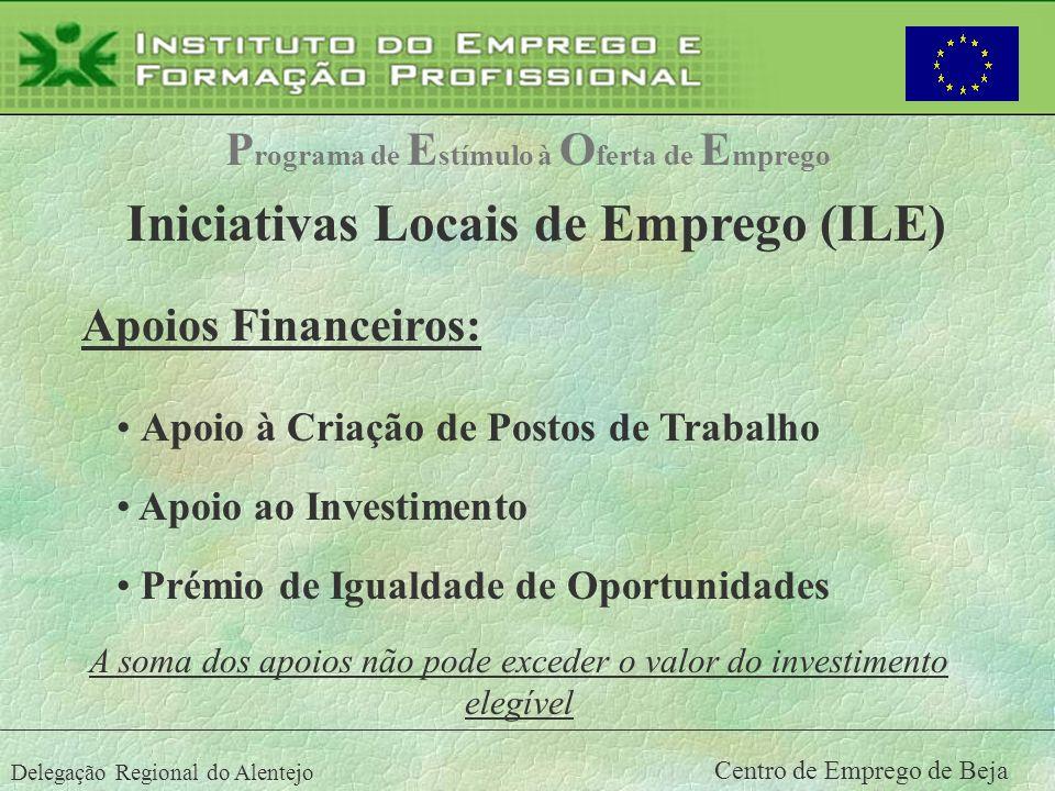 Delegação Regional do Alentejo Centro de Emprego de Beja Apoios Financeiros: Apoio à Criação de Postos de Trabalho Apoio ao Investimento P rograma de