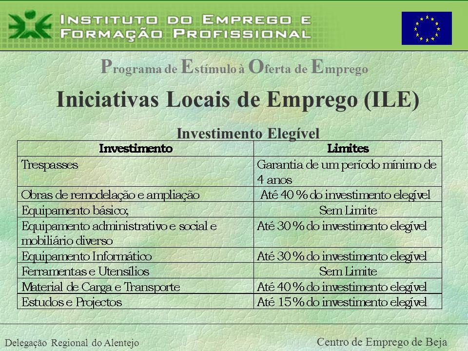 Delegação Regional do Alentejo Centro de Emprego de Beja P rograma de E stímulo à O ferta de E mprego Iniciativas Locais de Emprego (ILE) Investimento