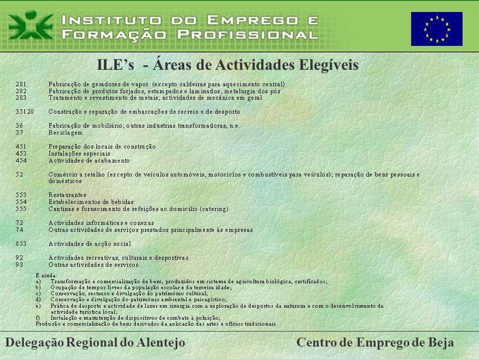 Delegação Regional do AlentejoCentro de Emprego de Beja ILEs - Áreas de Actividades Elegíveis