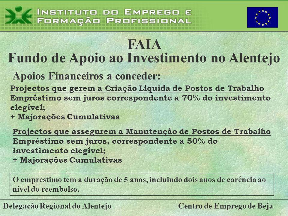 Delegação Regional do AlentejoCentro de Emprego de Beja FAIA Fundo de Apoio ao Investimento no Alentejo Apoios Financeiros a conceder: Projectos que g