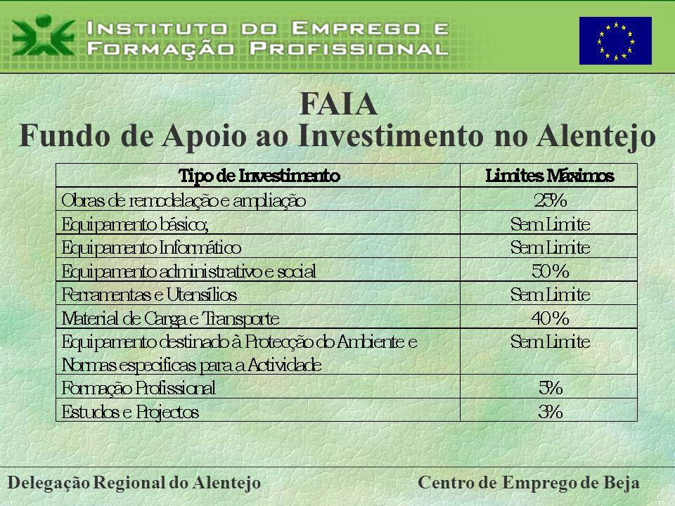 Delegação Regional do AlentejoCentro de Emprego de Beja FAIA Fundo de Apoio ao Investimento no Alentejo