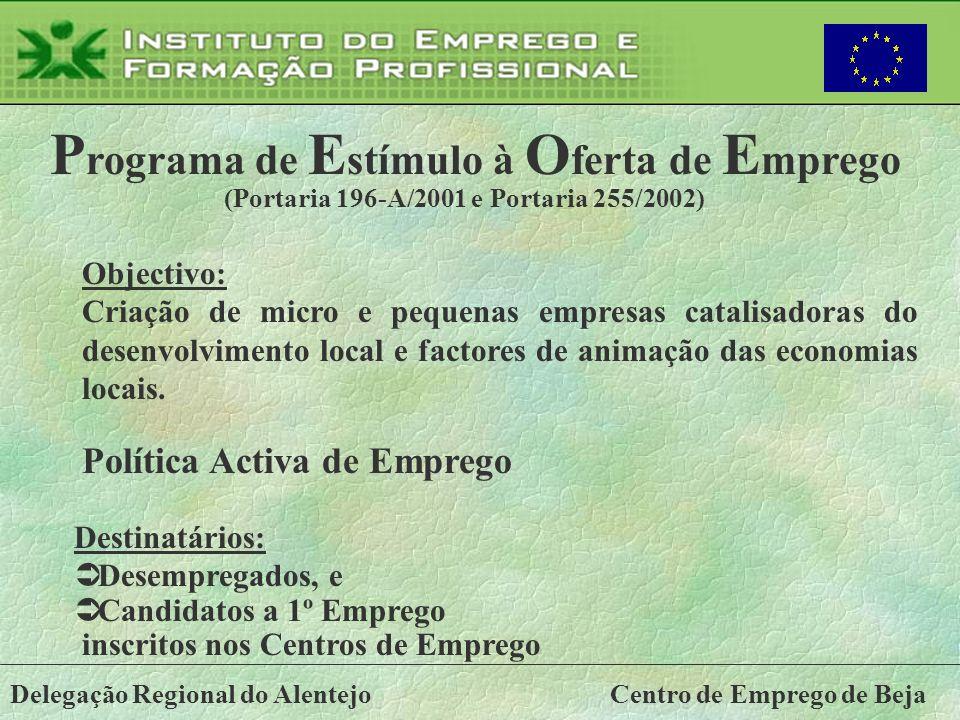 Delegação Regional do AlentejoCentro de Emprego de Beja Objectivo: Criação de micro e pequenas empresas catalisadoras do desenvolvimento local e facto
