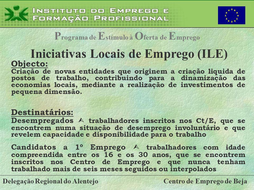 Delegação Regional do AlentejoCentro de Emprego de Beja P rograma de E stímulo à O ferta de E mprego Iniciativas Locais de Emprego (ILE) Objecto: Cria