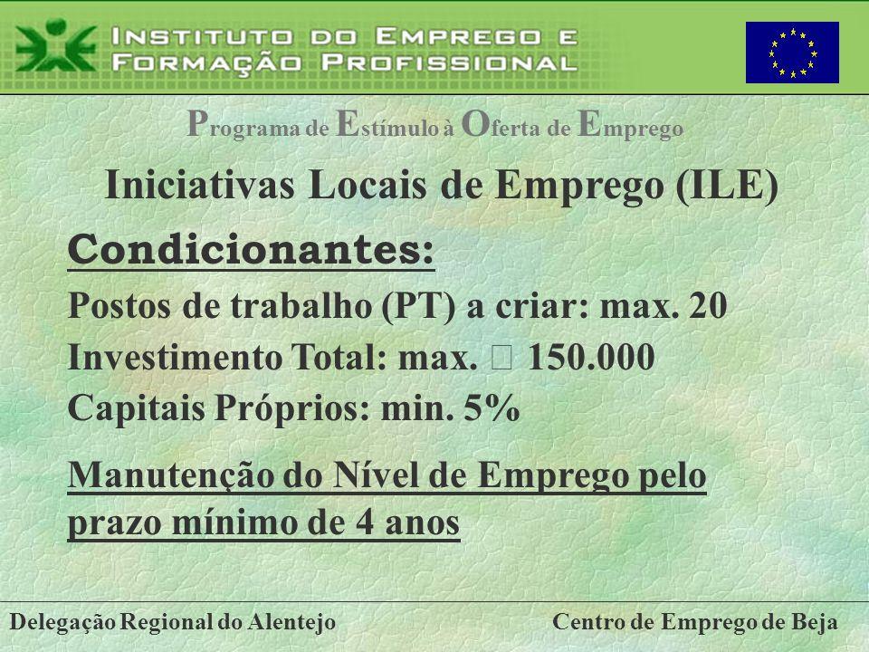 Delegação Regional do AlentejoCentro de Emprego de Beja P rograma de E stímulo à O ferta de E mprego Iniciativas Locais de Emprego (ILE) Condicionante