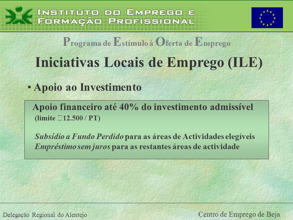 Delegação Regional do Alentejo Centro de Emprego de Beja Apoio financeiro até 40% do investimento admissível (limite €12.500 / PT) Subsídio a Fundo Pe