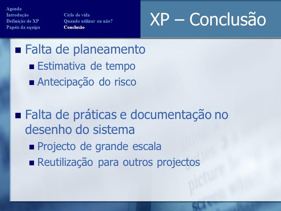 XP – Conclusão Falta de planeamento Estimativa de tempo Antecipação do risco Falta de práticas e documentação no desenho do sistema Projecto de grande