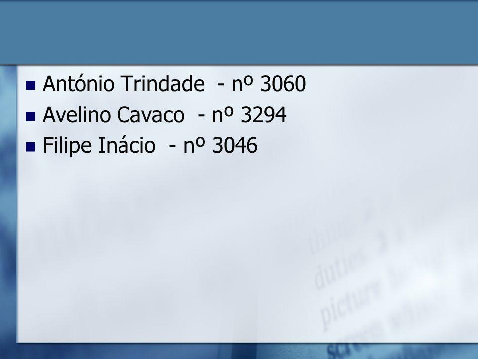 António Trindade - nº 3060 Avelino Cavaco - nº 3294 Filipe Inácio - nº 3046