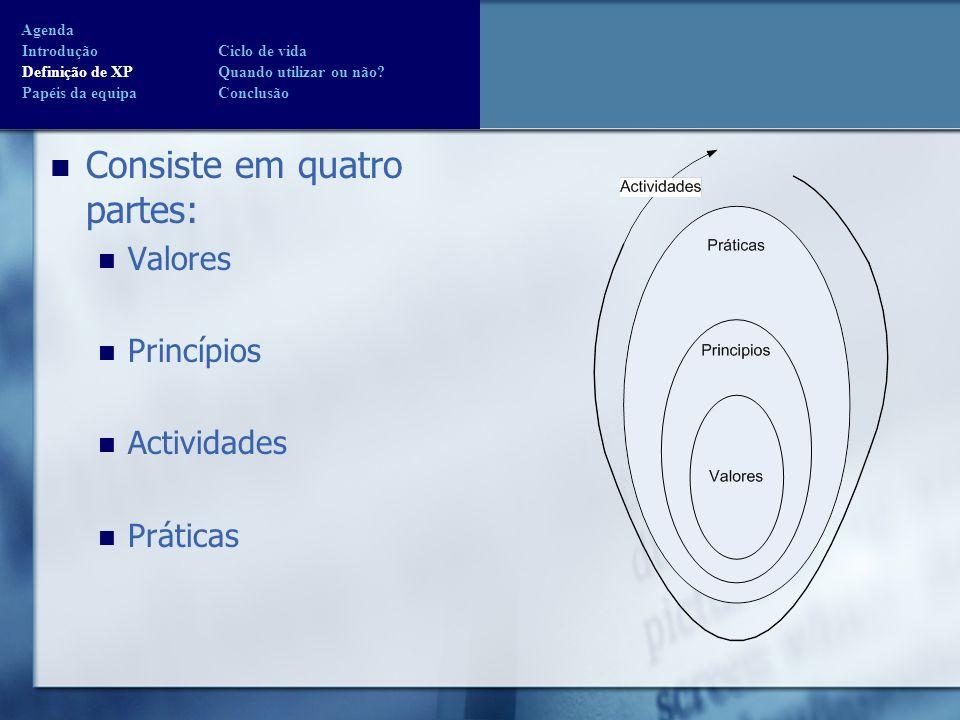 Definição de XP Consiste em quatro partes: Valores Princípios Actividades Práticas Agenda Introdução Ciclo de vida Definição de XP Quando utilizar ou