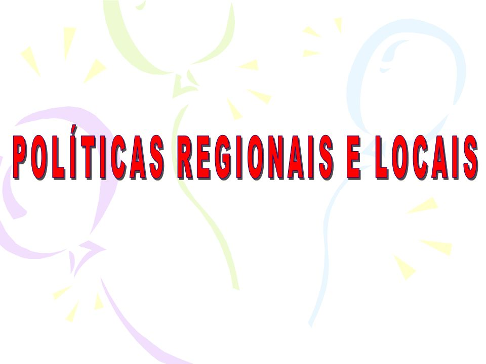 1.As Políticas regionais Têm como objectivo a equidade inter-regional, ou seja, estas são políticas redistributivas postas em prática pelos países dentro do seu próprio território.
