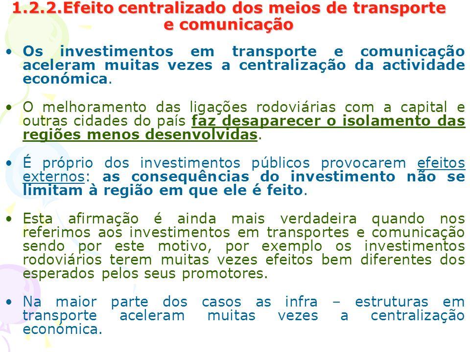 1.2.2.Efeito centralizado dos meios de transporte e comunicação Os investimentos em transporte e comunicação aceleram muitas vezes a centralização da