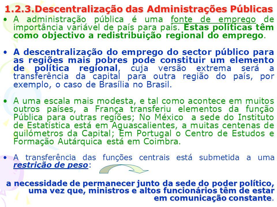 1.2.3.Descentralização das Administrações Públicas A administração pública é uma fonte de emprego de importância variável de país para país. Estas pol