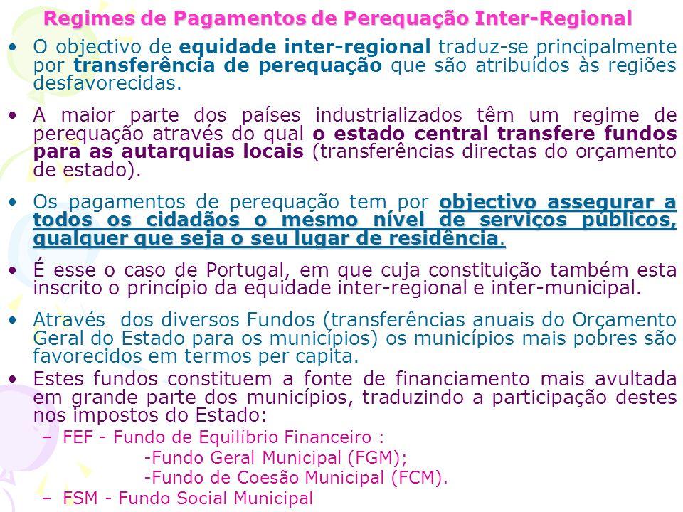 Regimes de Pagamentos de Perequação Inter-Regional O objectivo de equidade inter-regional traduz-se principalmente por transferência de perequação que