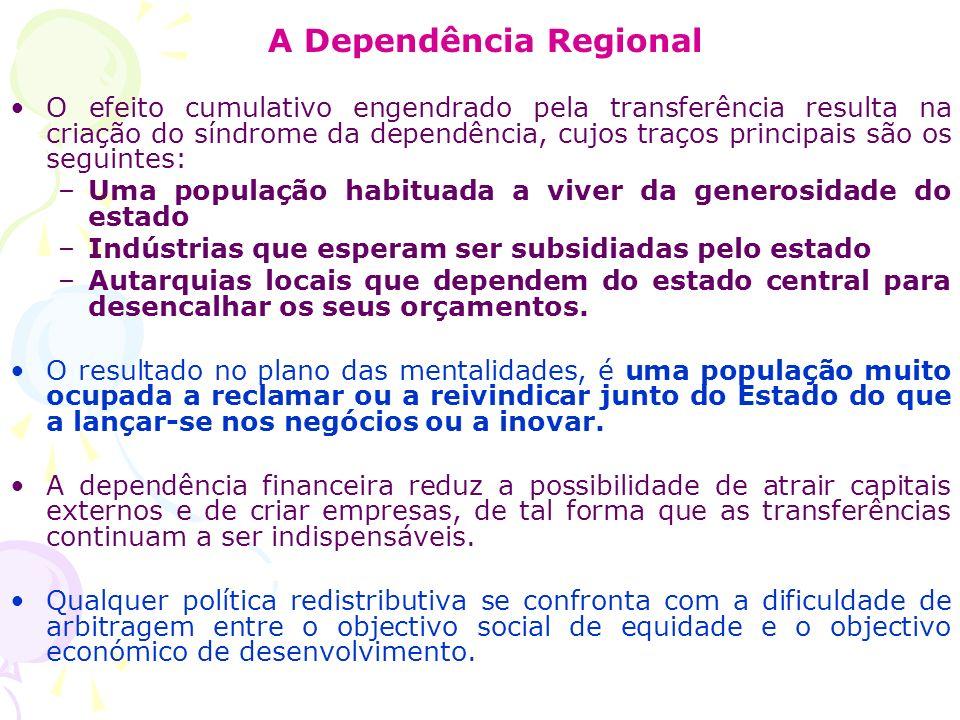 A Dependência Regional O efeito cumulativo engendrado pela transferência resulta na criação do síndrome da dependência, cujos traços principais são os
