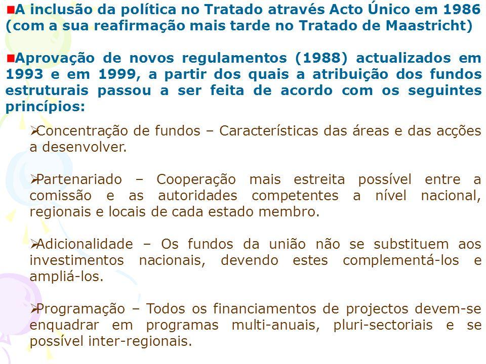 A inclusão da política no Tratado através Acto Único em 1986 (com a sua reafirmação mais tarde no Tratado de Maastricht) Aprovação de novos regulament