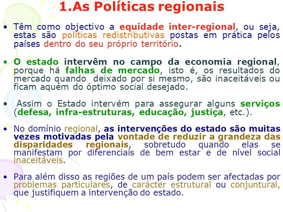 1.As Políticas regionais Têm como objectivo a equidade inter-regional, ou seja, estas são políticas redistributivas postas em prática pelos países den