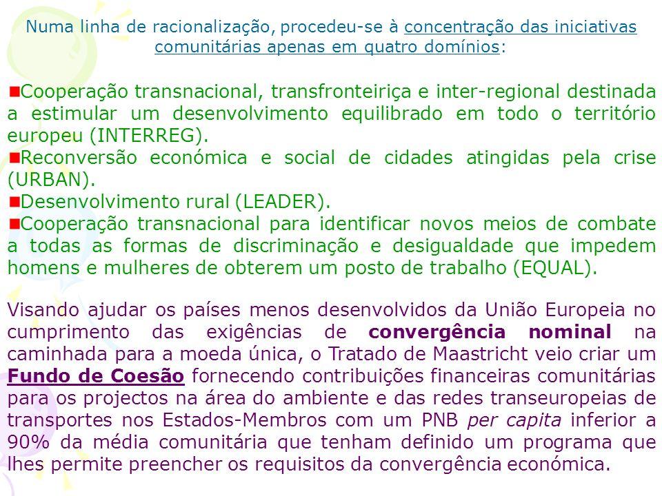 Numa linha de racionalização, procedeu-se à concentração das iniciativas comunitárias apenas em quatro domínios: Cooperação transnacional, transfronte