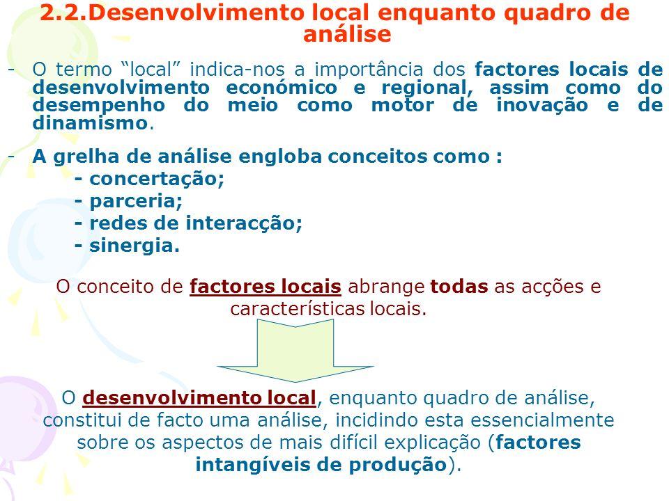 2.2.Desenvolvimento local enquanto quadro de análise -O termo local indica-nos a importância dos factores locais de desenvolvimento económico e region