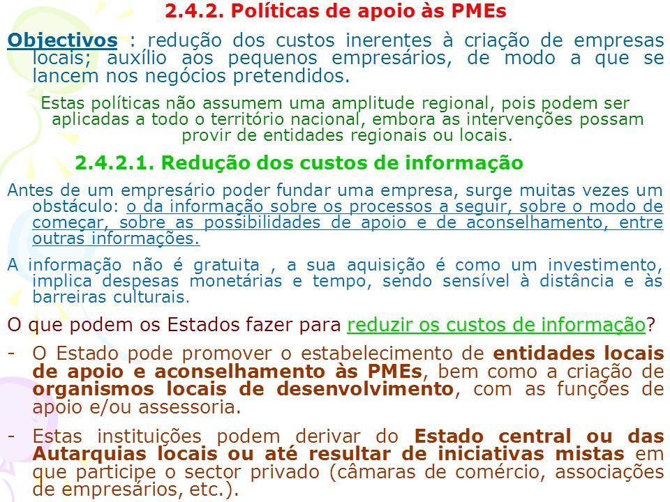2.4.2. Políticas de apoio às PMEs Objectivos : redução dos custos inerentes à criação de empresas locais; auxílio aos pequenos empresários, de modo a