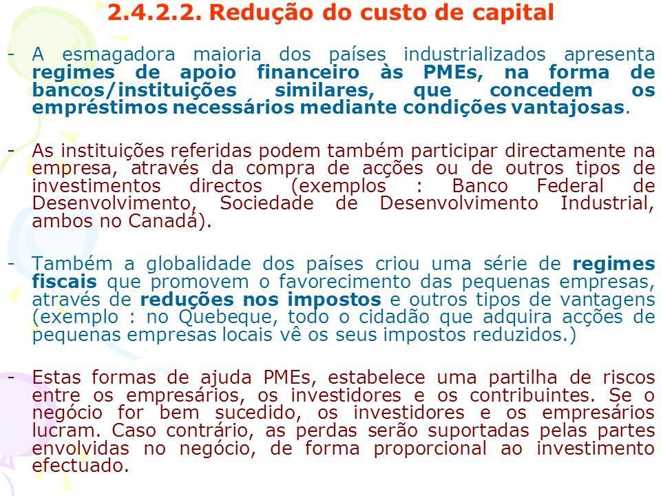 2.4.2.2. Redução do custo de capital -A esmagadora maioria dos países industrializados apresenta regimes de apoio financeiro às PMEs, na forma de banc
